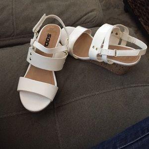 Soda girls white wedge Easter shoes!